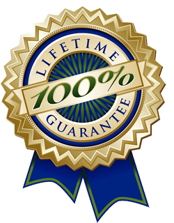 Set Of Four Colorful 100% Lifetime Guarantee Emblem Seals With R